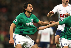 25 November 2017 Wembley : Premier League Football : Tottenham Hotspur v West Bromwich Albion - Ahmed El-Sayed Hegazi has his shirt pulled by an Albion colleague.<br /> (photo by Mark Leech)