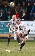 29 Feb 2010 Esher, Surrey: England's Katy Mclean kicks a penalty during the Women's Six Nations game between England and Ireland at Esher Rugby Club (photo by Andrew Tobin/SLIK images)