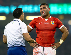 Siale Piutau of Tonga disappointed that Referee Nic Berry has disallowed at try<br /> <br /> Photographer Simon King/Replay Images<br /> <br /> Under Armour Series - Wales v Tonga - Saturday 17th November 2018 - Principality Stadium - Cardiff<br /> <br /> World Copyright © Replay Images . All rights reserved. info@replayimages.co.uk - http://replayimages.co.uk