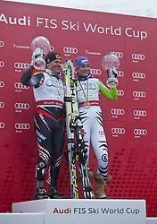 19.03.2011, Pista Silvano Beltrametti, Lenzerheide, SUI, FIS Ski Worldcup, Finale, Lenzerheide, Podium, im Bild Gesamtweltcup Sieger, Ivica Kostelic (CRO), Gesamtweltcup Siegerin, Damen, Maria Riesch (GER) // Overall Weltcup Winner, Men, Ivica Kostelic (CRO), Overall Weltcup Winner, Women, Maria Riesch (GER) during Men´s Downhill, at Pista Silvano Beltrametti, in Lenzerheide, Switzerland, 19/03/2011, EXPA Pictures © 2011, PhotoCredit: EXPA/ J. Feichter