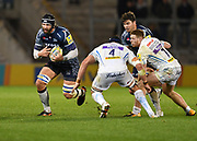Sale Sharks second-row Andrei Ostrikov  runs at Exeter Chiefs second-row Mitch Lees during the The Aviva Premiership match Sale Sharks -V- Exeter Chiefs  at The AJ Bell Stadium, Salford, Greater Manchester, England on Friday, October 27, 2017. (Steve Flynn/Image of Sport)