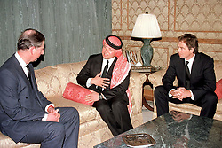 King Abdallah (or Abdullah), center, receives Prince Charles of Wales (left) and Tony Blair during King Hussein's funeral at the Royal palace in Amman, Jordan on February 8, 1999. Twenty years ago, end of January and early February 1999, the Kingdom of Jordan witnessed a change of power as the late King Hussein came back from the United States of America to change his Crown Prince, only two weeks before he passed away. Photo by Balkis Press/ABACAPRESS.COM