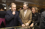 Harry Enfield, Geldof and Maya de Schonburg.  Charity sale of the last ever sale at Asprey and Garrard. New Bond St. London. 15/1/02© Copyright Photograph by Dafydd Jones 66 Stockwell Park Rd. London SW9 0DA Tel 020 7733 0108 www.dafjones.com