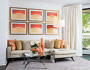 Apartment interior model styled with mid century modern influences, photographed for the designer