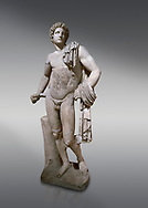 Roman statue of Apollo .Marble. Perge. 2nd century AD. Antalya Archaeology Museum; Turkey. .<br /> <br /> If you prefer to buy from our ALAMY STOCK LIBRARY page at https://www.alamy.com/portfolio/paul-williams-funkystock/greco-roman-sculptures.html . Type -    Antalya     - into LOWER SEARCH WITHIN GALLERY box - Refine search by adding a subject, place, background colour, museum etc.<br /> <br /> Visit our ROMAN WORLD PHOTO COLLECTIONS for more photos to download or buy as wall art prints https://funkystock.photoshelter.com/gallery-collection/The-Romans-Art-Artefacts-Antiquities-Historic-Sites-Pictures-Images/C0000r2uLJJo9_s0