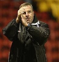 Photo: Aidan Ellis.<br /> Bradford City v Swansea City. Coca Cola League 1. 13/01/2007.<br /> Swansea's Kenny Jackett applauds the traveliing fans