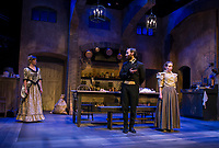 """Miss Julie played by Rebecca Tucker, her valet Jean played by Nicholas Wilder and her cook Kristen played by Carey Cahoon during dress rehearsal for """"Miss Julie"""" on Tuesday evening at the Winnipesaukee Playhouse.  (Karen Bobotas/for the Laconia Daily Sun)"""