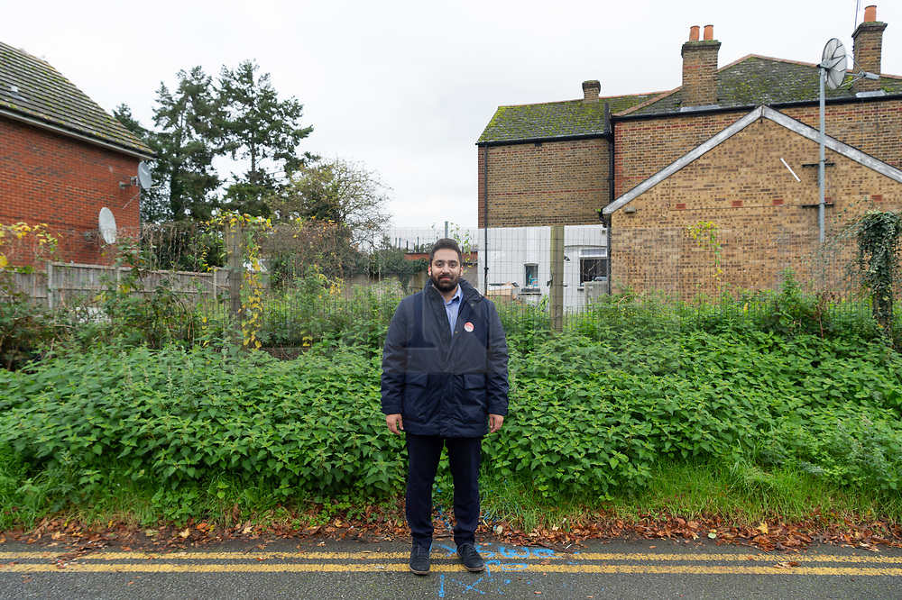 © Licensed to London News Pictures. 03/11/2019. London, UK. Ali Milani, the Labour Party General Election candidate poses for a photo before canvassing with supporters in Uxbridge & South Ruislip at the start of his campaign. He hopes to defeat British Prime Minister Boris Johnson who is MP for the constituency. Photo credit: Ray Tang/LNP