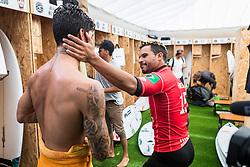 Italo Ferreira (BRA) and Gabriel Medina (BRA) after Gabriel Medina loose into the semis at the Meo Rip Curl Pro Portugal 2018