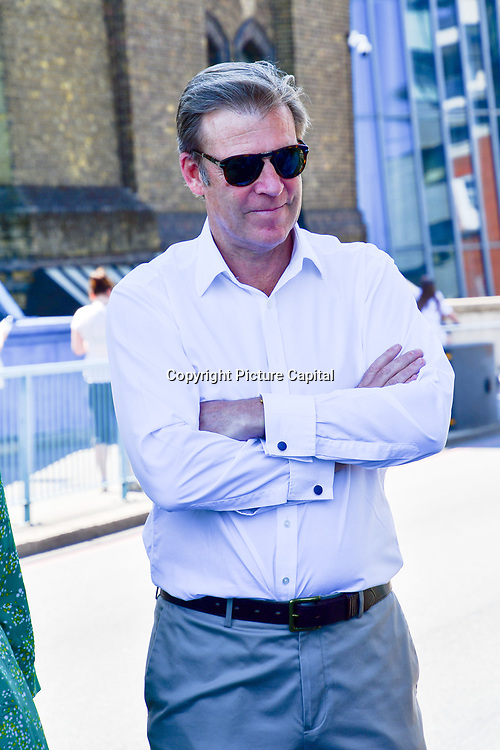 William Russell Lord Mayor of the City of London attend to celebrates London hosting of UEFA EURO 2020 including both semi finals and the final with thousands of poster laid along Tower Bridge on 13th June 2021, London, UK