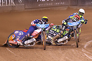 Emil Sayfutdinov and Antonio Lindback challenge for the lead in the opening corner during the 2019 Adrian Flux British FIM Speedway Grand Prix at the Principality Stadium, Cardiff, Wales on 21 September 2019.