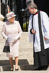 London, August 15th 2015 HM Queen Elizabeth leaves St Martin-in-the-Fields church following a service commemorating the 70th anniversary of the Allies victory against Japan, which ended the Second World War.