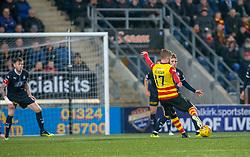 Partick Thistle's Craig Slater (17) scoring their goal. Falkirk 1 v 1 Partick Thistle, Scottish Championship game played 17/11/2018 at The Falkirk Stadium.