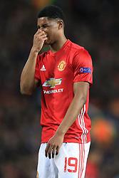 20th April 2017 - UEFA Europa League - Quarter Final - Manchester United v Anderlecht - Marcus Rashford of Man Utd looks dejected - Photo: Simon Stacpoole / Offside.