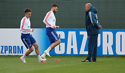 MOSCOW, July 4, 2018  Russia's head coach Stanislav Cherchesov (R) attends a training session in Moscow, Russia, on July 4, 2018. Russia will face Croatia in a quarter-final match of the 2018 FIFA World Cup on July 7. (Credit Image: © Bai Xueqi/Xinhua via ZUMA Wire)