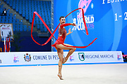 Prince Danielle during qualifying ribbon at the Pesaro World Cup April 2, 2016. She is a rhythmic gymnastics athlete from Australia born 12 June 1992 in Brisbane.<br /> Danielle competed at the 2016 Summer Olympics held in Rio de Janeiro, Brazil.