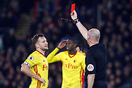 Tom Cleverley of Watford (L) is sent off by referee Lee Mason (R). Premier League match, Crystal Palace v Watford at Selhurst Park in London on Tuesday 12th December 2017. pic by Steffan Bowen, Andrew Orchard sports photography.