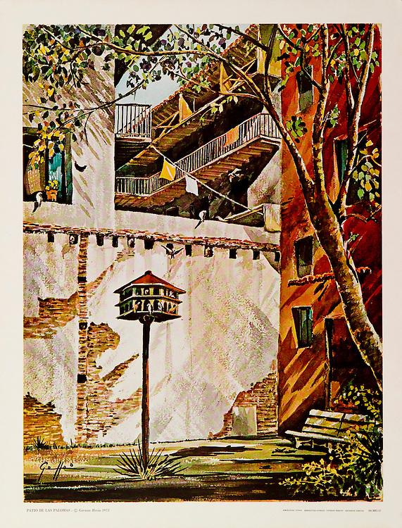 """Cat. #25 - Print of a watercolor painting of """"Parque de las Palomas"""" in Old San Juan, Puerto Rico. This small park is adjacent to """"Capilla del Cristo"""" and overlooks the bay. Printed in Italy on heavy weight, smooth stock.<br /> Paper size is 13 3/4 x 17 1/2"""". Image size is approximately 12 x 15 3/4"""" <br /> Cat. #25 - Impresión de una pintura a acuarela del Parque de las Palomas en el Viejo San Juan, Puerto Rico. Este pequeño y antiguo parque esta adyacente a la Capilla del Cristo y tiene una vista maravillosa la Bahía de San Juan. Impreso en Italia en papel grueso y liso.<br /> Tamaño del papel es13 3/4 x 17 1/2"""". Tamaño de la imagen es aproximadamente11 12 x 15 3/4"""""""