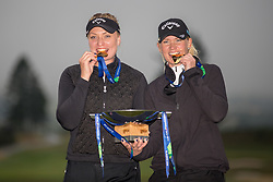 Winners of the Womens final Sweden, represented by Cajsa Persson and Linda Wessberg celebrate following the trophy and medal presentation during day eleven of the 2018 European Championships at Gleneagles PGA Centenary Course. PRESS ASSOCIATION Photo. Picture date: Sunday August 12, 2018. See PA story GOLF European. Photo credit should read: Kenny Smith/PA Wire. RESTRICTIONS: Editorial use only, no commercial use without prior permission