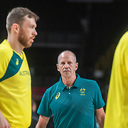 TOKYO, JAPAN August 5: Australian coach Brian Goorjian during team warm up before the Australia V USA semi final basketball match for men at the Saitama Super Arena during the Tokyo 2020 Summer Olympic Games on August 5, 2021 in Tokyo, Japan. (Photo by Tim Clayton/Corbis via Getty Images)
