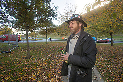 The Scottish Independence camp (Indy Camp) has been evicted from the grounds of the Scottish Parliament.<br /> <br /> Pictured: Tearful Dean Halliday outside the campsite