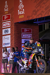 LIMA, Jan. 7, 2019  Austrian driver Matthias Walkner of KTM racing team leaves on the podium during the departure ceremony at the 2019 Dakar Rally Race, Lima, Peru, on Jan. 6, 2019. The 41st edition of Dakar Rally Race kicked off in Lima, Peru. (Credit Image: © Xinhua via ZUMA Wire)
