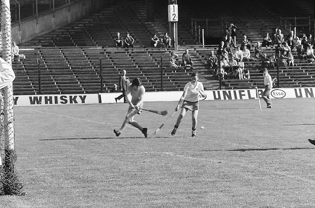 Wexford waiting on the slitor to come towards her as Cork tries to block it during the All Ireland Senior Camogie Final Cork v Wexford in Croke Park on the 21st September 1975. Wexford 4-3 Cork 1-2.