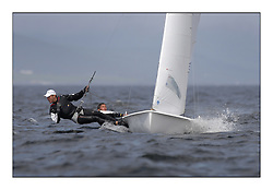 470 Class European Championships Largs - Day 2.Wet and Windy Racing in grey conditions on the Clyde...GRE1, Antonis TSIMPOUKELIS, Pavlos KAGIALIS ..