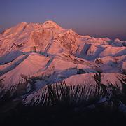 Alpenglow on Mount McKinley in Denali National Park, Alaska.