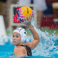 Dora Czigany of Hungary throws the ball during the women waterpolo friendly match of Hungary and China in Tatabanya, Hungary on June 23, 2012. ATTILA VOLGYI