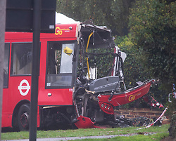 ©Licensed to London News Pictures 01/11/2019.<br /> Orpington,UK. The front of this bus is gone. One person is dead and 15 others have been injured in a crash between two buses and a car last night in Orpington, South East London. A man has been arrested for dangerous driving. Police are still on scene and a cordon is in place. Photo credit: Grant Falvey/LNP