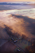 PA landscapes, Aerial Photograph, Fog over Perry Co., Valley Farms,  Pennsylvania
