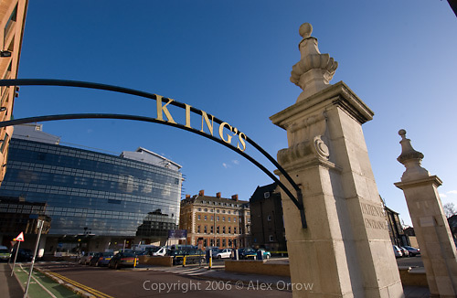 Kings NHS Foundation Trust College Hospital Sign and Hospital Exterior