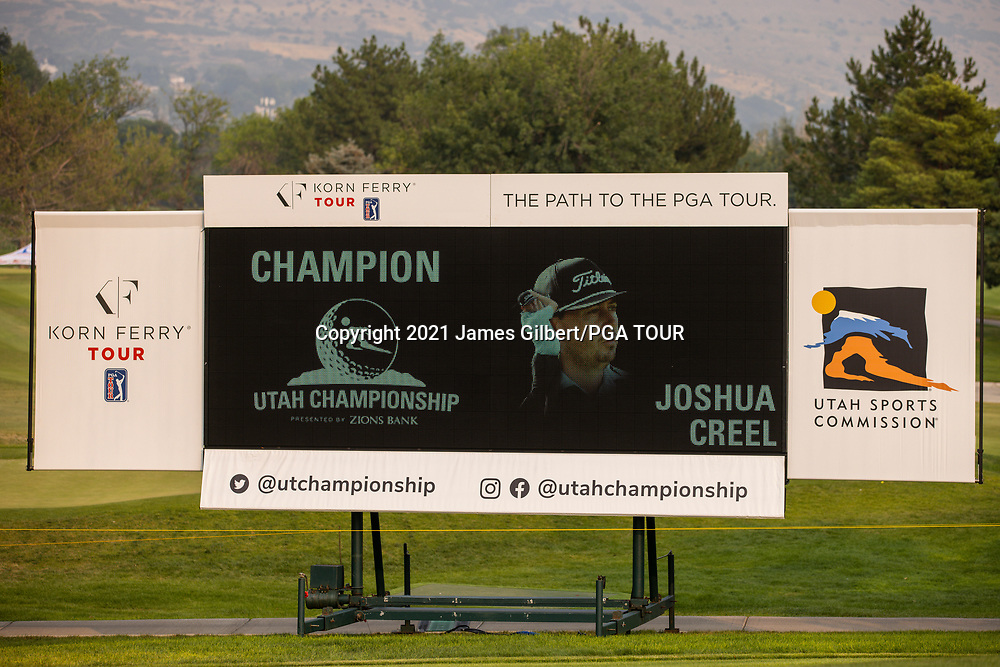 FARMINGTON, UT - AUGUST 08: A scoreboard is seen on the 18th green with a Champion graphic after Joshua Creel won the final round of the Utah Championship presented by Zions Bank at Oakridge Country Club on August 8, 2021 in Farmington, Utah. (Photo by James Gilbert/PGA TOUR via Getty Images)