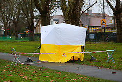 © Licensed to London News Pictures. 06/12/2019. London, UK. A police tent in Chestnuts Park, Harringay, north London, opposite a primary school, where a 14-year-old girl was allegedly raped. <br /> The victim was allegedly approached by a man who tried to engage her in conversation before raping her. Police were called just after 7 pm   Thursday, 5 December 2019. Photo credit: Dinendra Haria/LNP