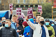 Hearts fans protest against manager Robbie Neilson and Ann Budge before the SPFL Championship match between Heart of Midlothian and Queen of the South at Tynecastle Park, Edinburgh, Scotland on 27 March 2021.