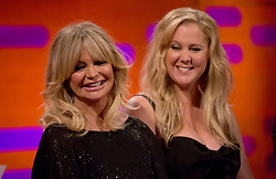 Goldie Hawn and Amy Schumer during the filming of the Graham Norton Show at The London Studios, to be aired on BBC One on Friday.