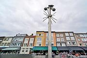 Nederland, Nijmegen, 16-5-2019Boven een uitgaansgebied met veel restaurants, eethuisjes, hangen beveiligingscameras .Foto: Flip Franssen