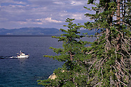 Boats in the clear blue water of Lake Tahoe, California