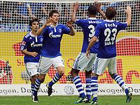 Fotball<br /> Tyskland<br /> 13.08.2011<br /> Foto: Witters/Digitalsport<br /> NORWAY ONLY<br /> <br /> 1:1 Jubel v.l. Jan Moravek, Klaas-Jan Huntelaar, Joel Matip, Christian Fuchs (Schalke)<br /> Bundesliga; FC Schalke 04 - 1. FC Köln