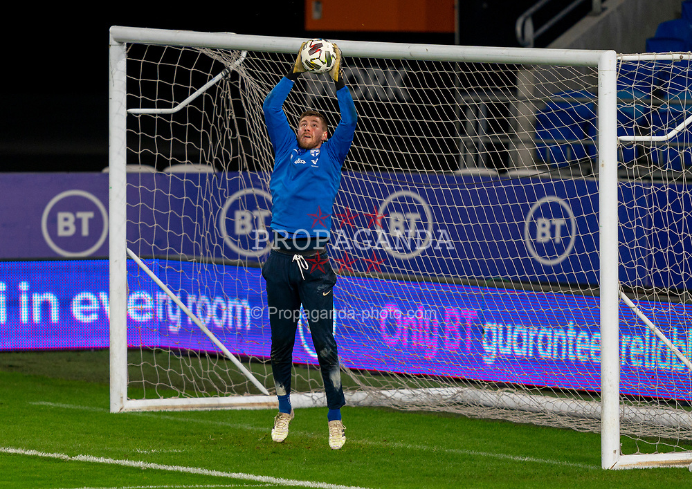 CARDIFF, WALES - Tuesday, November 17, 2020: Finland's goalkeeper Jesse Joronen during a training session at the Cardiff City Stadium ahead of the UEFA Nations League Group Stage League B Group 4 match between Wales and Finland. (Pic by David Rawcliffe/Propaganda)