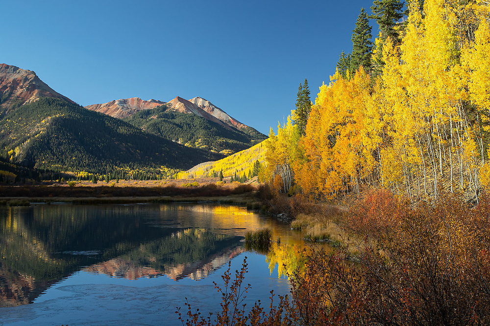 Crystal Lake and Red Mountains, Autumn, Ouray County, Colorado