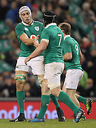 Sean O'Brien congratulate Ultan Dillane after scoring a try for Ireland  during the 2016 Guinness Series  autumn international rugby match, Ireland v Canada at the Aviva Stadium in Dublin, Ireland on Saturday 12th November 2016.<br /> pic by  John Halas, Andrew Orchard sports photography.