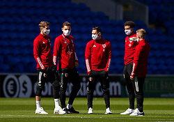 CARDIFF, WALES - Sunday, September 6, 2020: Wales' David Brooks, Tom Lockyer, Connor Roberts, Ethan Ampadu on the pitch before the UEFA Nations League Group Stage League B Group 4 match between Wales and Bulgaria at the Cardiff City Stadium. (Pic by David Rawcliffe/Propaganda)