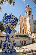 Parroquia Santa María Magdalena church with a giant Talavera pottery animal in Xico, Veracruz, Mexico.
