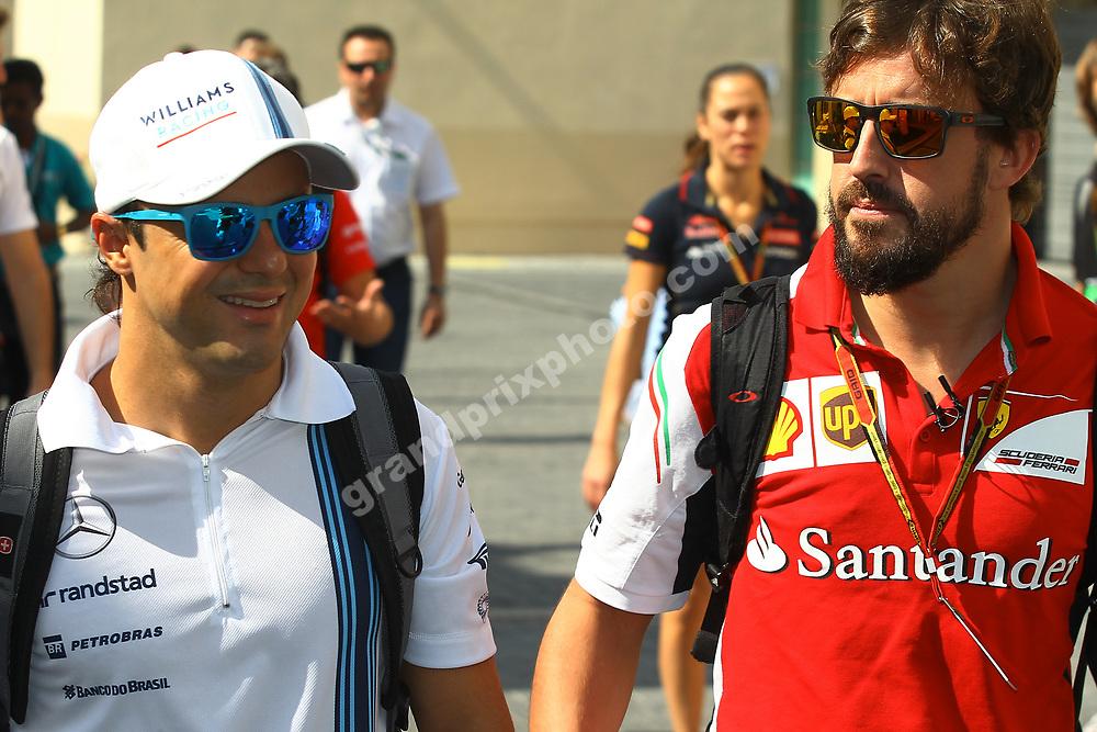 Felipe Massa (Williams-Mercedes) with Fernando Alonso (Ferrari) with sunglasses at the 2014 Abu Dhabi Grand Prix at Yas Marina Circuit. Photo: Grand Prix Photo
