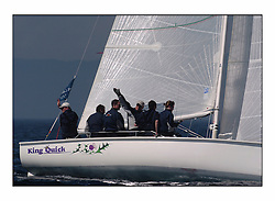 Bell Lawrie Series Tarbert Loch Fyne - Yachting.The first day's inshore races...Ruairadh Scott, with his father Greame aboard King Quick the winners of the 1720 Class. GBR 1777L.