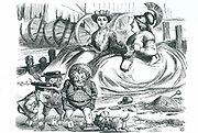 France and Britain watching the children (John Bull, Mr Punch and Napleon III). This year marked 50 years of peace between France and Britain and the beginning of the Entente Cordiale.  John Tenniel cartoon from 'Punch', London, 16 September 1865.