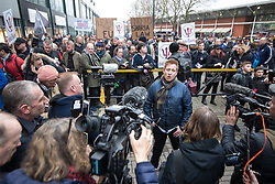 © Licensed to London News Pictures . 24/03/2018. Birmingham, UK. JOHN MEIGHAN leader of the FLA speaking to media at a Football Lads Alliance demonstration against Islam and extremism in Birmingham City Centre . Offshoot group, The True Democratic Football Lads Alliance, also hold a separate demonstration . Photo credit: Joel Goodman/LNP