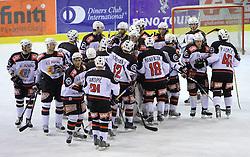 Team Jesenice at 39th Round of EBEL League ice hockey match between HDD Tilia Olimpija and HK Acroni Jesenice, on December 30, 2008, in Arena Tivoli, Ljubljana, Slovenia. Tilia Olimpija won 4:3. (Photo by Vid Ponikvar / SportIda).